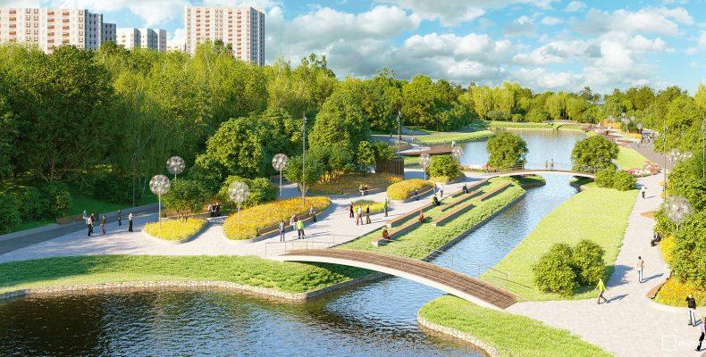 В пойме реки Битцы в Москве до конца года появится трехъярусный парк